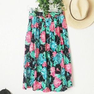 80-90s Vintage Floral Button Down Midi Skirt Small